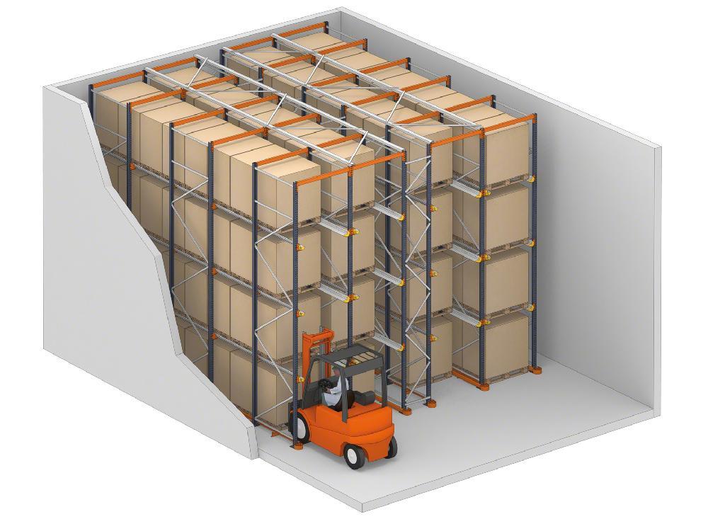 Le système drive-in se compose de rayonnages dans lesquels les chariots peuvent accéder à la marchandise par leurs canaux de stockage