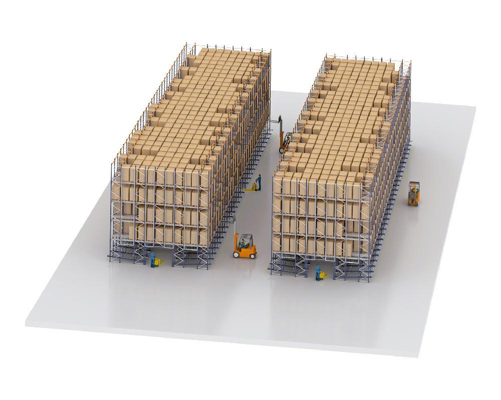 Dans les entrepôts à forte rotation dotés du système Pallet Shuttle, une partie de l'installation est réservée au picking dynamique