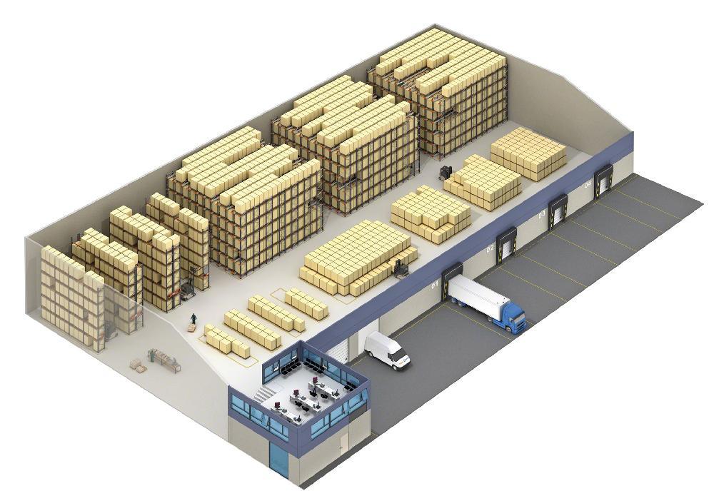 Dans les entrepôts à forte rotation, le système Pallet Shuttle peut être associé à d'autres systèmes de stockage